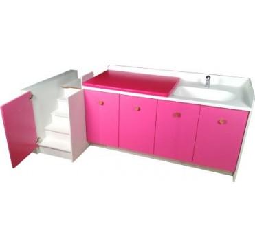 Meuble de change Lg 2645 mm 2 changes 1 bain sabot 1 escaliers fixe et 2 meubles 2 portes
