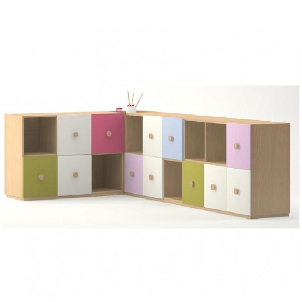 Meuble de rangement en angle 18 casiers meubles rangement - Meuble rangement angle ...