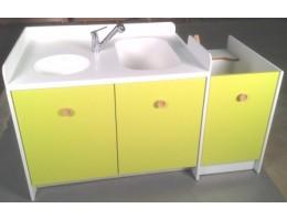 Meuble de change Lg 1630 mm 1 change 1 bain sabot 1 vasque 1 escaliers fixe et meuble 2 portes