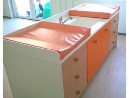 Meuble de change Lg 2200 mm 2 changes 1 Grand bain 6 tiroirs 2 portes