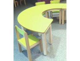 """Table demi lune collective - """"Taille OC"""" - Hauteur 61cm blanc"""